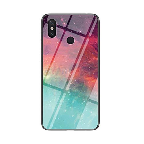BeyondTop Funda para Xiaomi Mi Mix 3 5G Cubierta de Cristal Degradado de Color Caja de Vidrio Templado Case Cover para Xiaomi Mi Mix 3 5G (Color Estrellado)