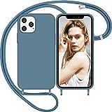 Nupcknn Funda Silicona con Cuerda para iPhone 12 Pro MAX, Carcasa Suave Silicona Case con Correa Colgante Ajustable Collar Correa de Cuello Cadena Cordón(6.7',Azul)