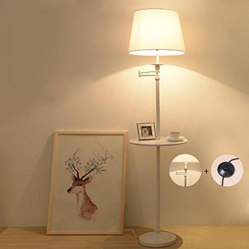 Lámpara de pie creativa de la mesa de centro, interruptor de control dual del tirón del pedal / de la mano, luces de lectura de la moda LED ( Color : Blanco )