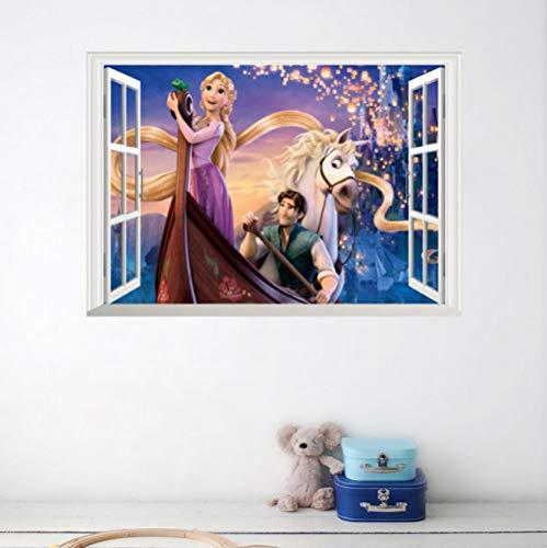 3d Muursticker Cartoon Rapunzel En Knappe Prins Fotolijst 50x70cm Slaapkamer Woonkamer Keuken Woondecoratie Behang