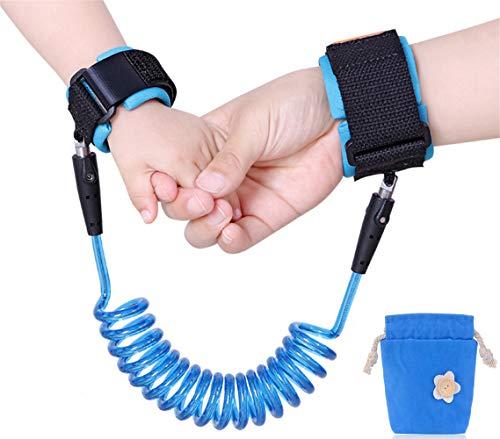 Emwel, Kinder-Sicherheitsleine für das Handgelenk, 2,5 m lang, verstellbar und weich, blau