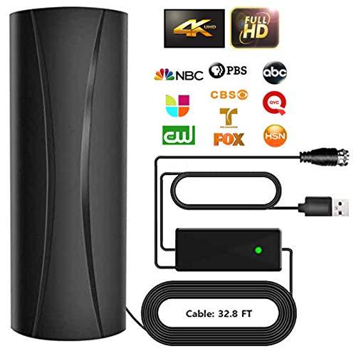 [2020 Upgrade] TV-Antenne, KKUYI DVB-T2/DVB-T Antenne Indoor/Outdoor, Digitale HDTV Antenne 300KM Reichweite, Zimmerantenne mit Signalverstärker unterstützt 4K 1080P HD, mit 10M Langem Koaxialkabel