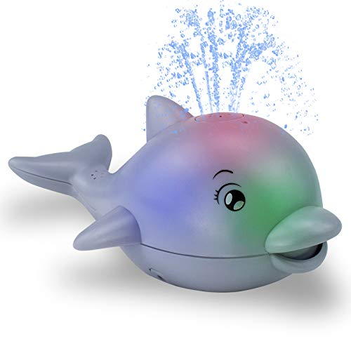 Brekya Baby Bath Toys,Automatic Spray Water Bath Toy with LED Light Music,Induction Sprinkler Dolphin Bathtub Toys, Best Gift for Kids Toddlers Boys Girls,Swimming Pool Shower Outdoors Beach (Gray)