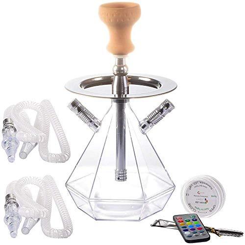 YXZLY Tragbares transparentes Acryl-Shisha-Set mit LED-Fernbedienung, 2 Schläuchen, für Häuser, Bars, Clubs, Partys, Outdoor, Luxushotels, Häuser
