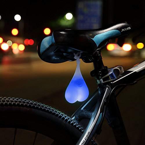 LDYGRattanArt Kreative Fahrrad Rücklicht Outdoor wasserdichte Fahrrad Rücklicht Silikon Herzförmige Sicherheit Nacht Erholung Ei Lampe, Blaues Licht