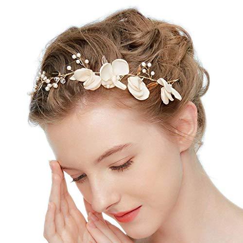 Lareina.C Vintage Haarband Stoff Blume Stirnbänder Braut Haarschmuck Hochzeit Kopfschmuck (Stoffblume)