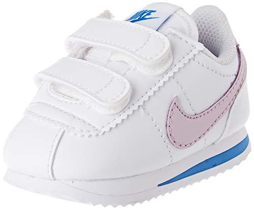 Nike Cortez Basic SL TDV, Zapatillas Unisex Niños, Bianco/Iced Lilac/Soar/Mtlc Silver, 34 EU