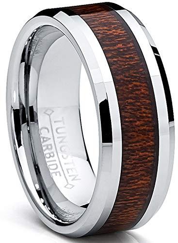 Ultimate Metals Co. 8MM Bague Tungstène pour Homme - Anneau de Mariage Incrusté du Bois Veritable Taille 67.5