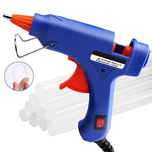 Heißklebepistole Klebepistole + 50 Heißklebesticks Transparente Klebesticks Transparente Klebepistole Set für DIY Kleine Handwerk und schnelle Reparaturen in Haus & Büro (Blau)