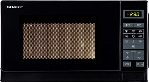 Sharp R742BKW 2-in-1 Mikrowelle mit Grill / 25 L / 900 W / 1000 W Grill / LED-Display / 8 Automatikprogramme / Gewichtgesteuertes Auftauen / Kindersicherung / Energiesparmodus / hoher Rost / schwarz