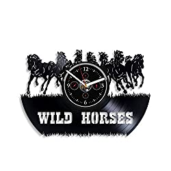 HandmadeCorp Wild Horses Wall Clock 12 Inch Animal Wall Clock Horse Wall Clock Vintage Vinyl Record Retro Wall Clock Large Wild Horse Art Birthday Gift Horses Gift New Year Gift Idea Men and Woman