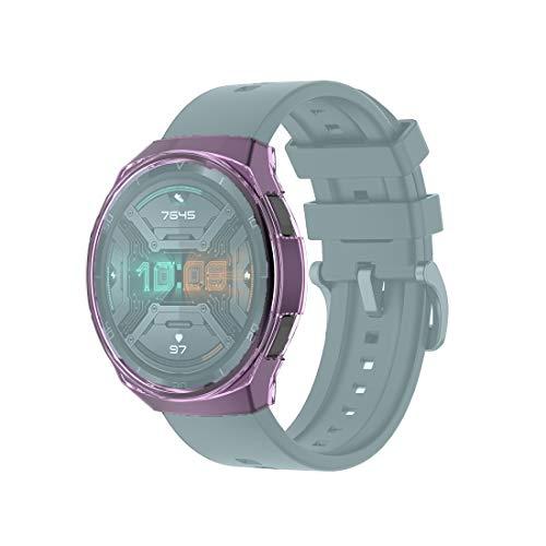 YOFEE WHZZ ADCD para Huawei-Watch GT 2E Transparent TPU Silicone Funda (Color : Transparent Purple)
