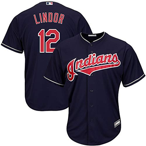 YQSB Jersey Baseball Baseball League Cleveland Indianer NO.12 Lindor Baseball Jersey,Black,Men-M
