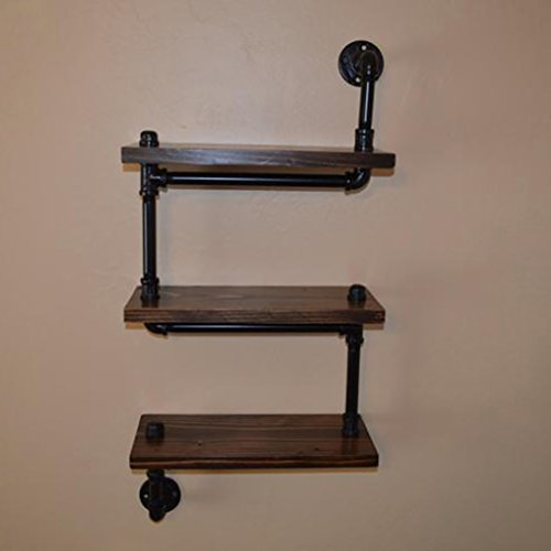 WWZWJ Drijvende plank Planken Amerikaanse retro smeedijzer zwarte slangrekken muur papier handdoek rek hout partitie display rack multifunctionele
