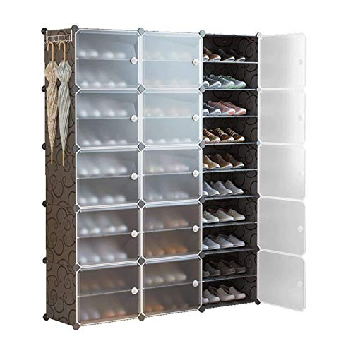 N/Z Home Equipment Portable Shoe Storage Organzier Tower Modular Cabinet for Space Saving Shoe Rack Ideal for Shoes Boots Slippers Multi-Functional (Color : Black Size : 126x31x158cm)