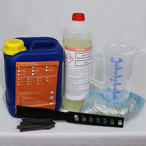 3 kg Gießharz für Beton Estriche Risse Epoxydharz Mischbecher+40 Klammern+1 kg Sand+Rühr