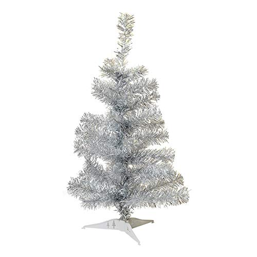 Harbour Housewares 2ft (60cm) Artificial Pine Christmas Tree With Stand - Silver