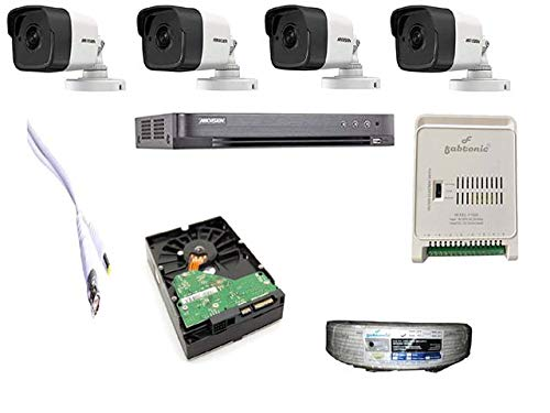 Fabtonic Hikvision Combo Kit 5MP Full HD Bullet Camera 4 Pcs 4CH (DS-7B04HUHI-K1) / DS-7204HUHI-M1/S DVR 1TB Hard Disc CCTV Wire Roll Power Supply & All Required Connectors.