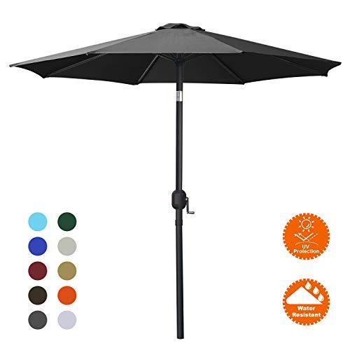 MASTERCANOPY Patio Umbrella Outdoor Fe-Al Market Table Umbrella with 8 Sturdy Ribs (9FT, Dark Gray)