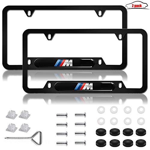 2 Pcs Stainless Steel License Plate Frame for BMW M Logo,Matte Black Car Licenses Plate Covers Holders Frames for Plates with Screw Caps. (for BMW M)