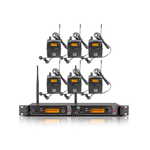 Xtuga RW2080 in Ear Monitor System 2 Channel 2/4/6/8/10 Bodypack Monitoring with in Earphone Wireless SR2050 Type! (6 bodypack with Transmitter)