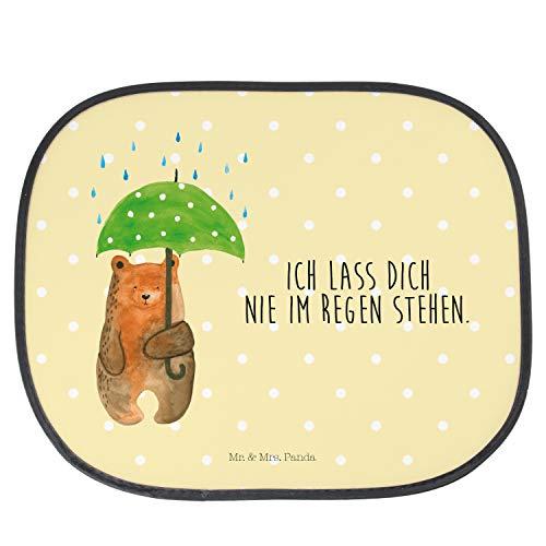 Mr. & Mrs. Panda Kinder, PKW, Auto Sonnenschutz Bär mit Regenschirm mit Spruch - Farbe Gelb Pastell