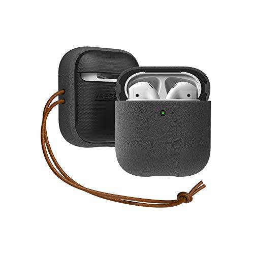 VRS Design Modern Apple Airpods 1 & 2 Cover Case (with Genuine Leather Strap) for Apple Airpods 1 & 2 (Sand Stone)