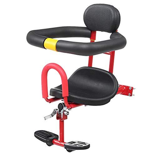 Abaodam Asiento de seguridad delantero ajustable Asiento de bicicleta para niños con mango de liberación rápida para bicicleta eléctrica MTB Road Bike (rojo)