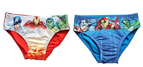 Avengers Captain America, Iron-Man und Hulk Bade-Slips 2er Set Blau und Rot, für Jungen (140)