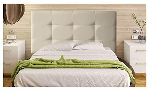 ONEK-DECCO Cabecero tapizado en Polipiel de Dormitorio Tennessee Medidas cabecero de Cama niño, Juvenil y Matrimonio Cabezal Blanco, tapizado, Acolchado (90x70, Beige)