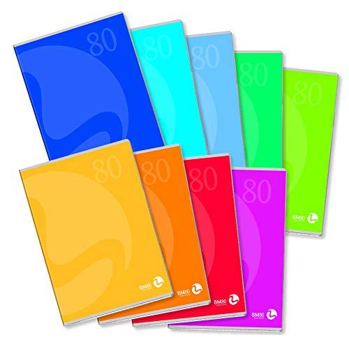 BM BeMore Color 80, 0110592, Quaderno Formato A4, Rigatura 10 mm, Quadretti 1 cm, Carta 80g/mq, Colori Assortiti, Confezione 12 pezzi