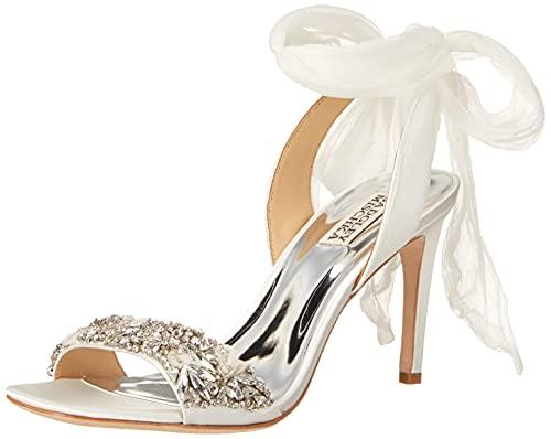 Badgley Mischka Women's Bobbie Heeled Sandal, White Satin, 9