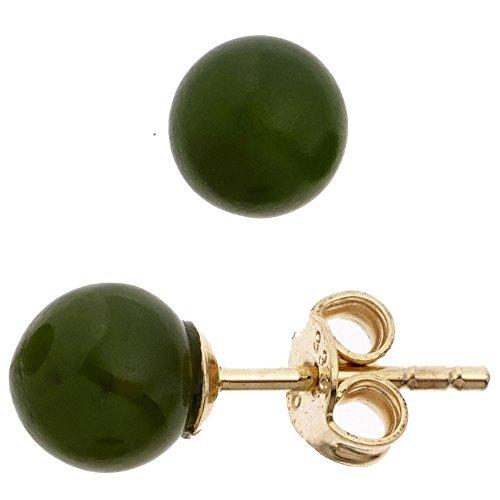Auriculares con Jade bola 6,4 mm 333 oro amarillo verde oscuro