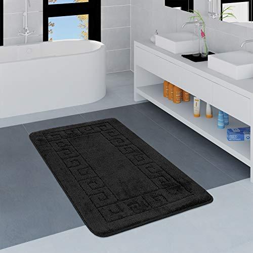 Paco Home Moderner Badezimmer Teppich Bordüre Badvorleger rutschfest Badematte In Schwarz, Grösse:80x150 cm