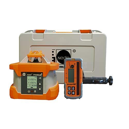NEDO Primus² H2N+ inkl. ACCEPTORdigital Laserempfänger - Zweiachs-Neigungslaser mir automatischer Nachnivellierung - Laserklasse 3R - Rotationslaser - inkl. DEWEPRO Zollstock 2m