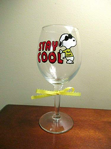 Hand Painted Wine Glass Snoopy Joe Cool 12 oz.