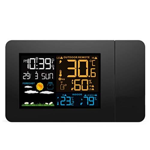Wecker mit Projektion, LED Projektionswecker Digital/Taktgeber Temperaturanzeige/Hygrometer/Uhrzeit & Datumsanzeige/LED Backlight/Snooze/Doppelwecker.