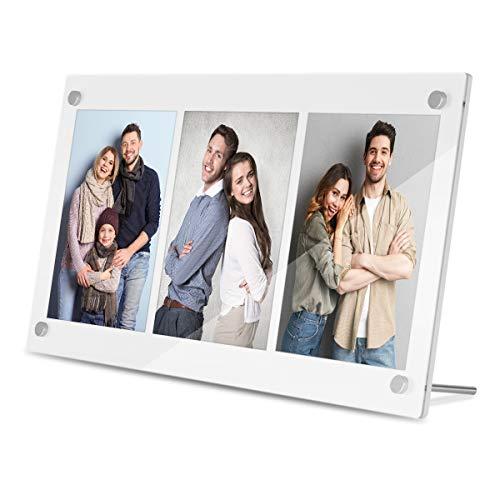 HIIMIEI Bilderrahmen Collage für 3 Bilder 10x15 cm - Fotorahmen aus Acryl, 2020 Ideengeschenk für die Familie, Weiß