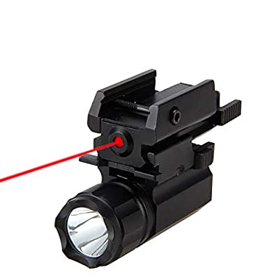 GOTICAL 2 in 1 Tactical Pistol Red Dot Laser Sight + 180 Lumen Cree LED Flashlight Combo Rifle/Pistol Flashlight Laser Combo