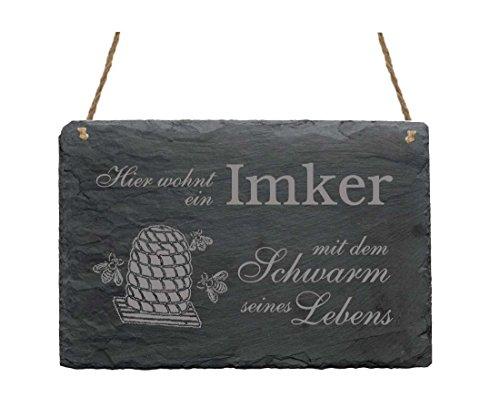 HIER WOHNT EIN IMKER MIT DEM SCHWARM SEINES LEBENS Schiefertafel ca. 22 x 16 cm