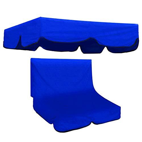 dDanke Garten-Hängematten-Ersatz-Baldachin-Set, 134 x 115 x 33 cm, Hollywoodschaukel-Bezug mit 104 x 47 x 47 cm, Rückenlehnenkissenbezug für Terrasse, Outdoor, 2-Sitzer-Schaukel, Marineblau