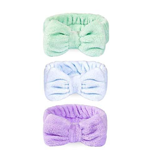 Yeglg 3 diademas grandes para el spa, para maquillaje, diademas para el pelo, toalla de forro polar coral, vendas para el pelo, deportes, baño, ducha, diademas para mujeres y niñas