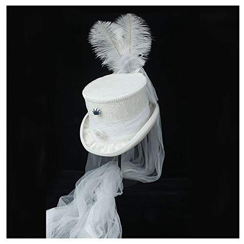 SSHZJUS 4 Tamaño Blanco Victoriano Gótico Steampunk Boda Top Hat Ivory Rockabilly Georgian Marie Antonieta (Color : Blanco, Size : 55cm)