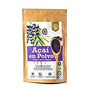Açaí Puro Ecológico en Polvo 100g, Pure Açaí Berry Organic Powder Biológico Orgánico, Bayas de Acai Organico en Polvo. Hecho 100% de la Pulpa de Açaí, Superalimento de Cultivo Nativo de la Amazonia