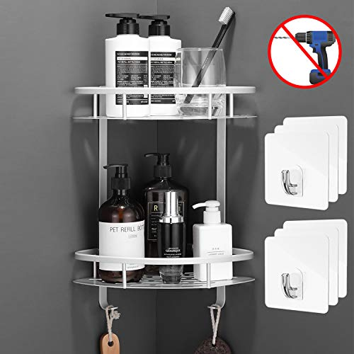 Flowmist 2 Tiers Corner Shower Caddy, Shower Organizer, Wall Mounted Aluminum Shower Shelf with Adhesive(No Drilling), Storage Rack for...