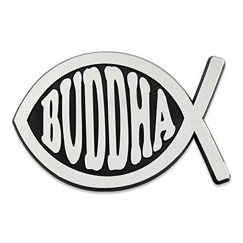 Buddha Fish Plastic Auto Emblem - [Silver][5'' x 3 1/4'']