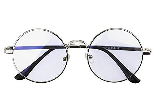 Anti Blau Frauen Herren Lesebrille Oversize Rahmen rund Metall Brillen Brille Nerd Eyewear CLEAR LENS UV-Schutz Computer TV Eye Displayschutzfolie leicht Horn mit Rand uni Glas + Fall