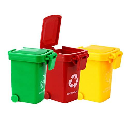 Fenteer 3 Teilige Kleine Mülltonnen Mülleimmer Abfalltonne Modell Spielzeug für Kinder