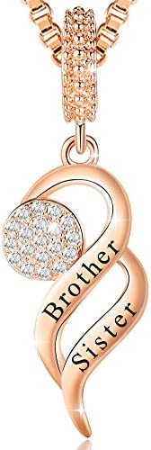 Ado Glo Sis Birthday Gift Brother Sister Forever Love Heart Pendant Necklace Charm for Bracelet product image