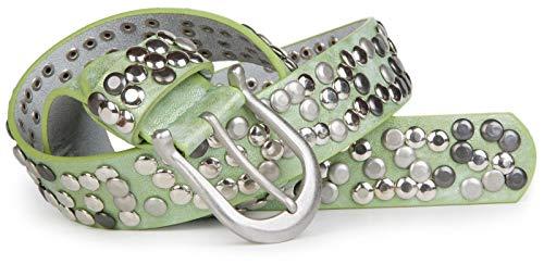 styleBREAKER Damen Nietengürtel im Vintage Style, Gürtel kürzbar, Synthetikgürtel, Gürtel, Damengürtel 03010008, Farbe:Antik-Apfelgrün, Größe:90cm